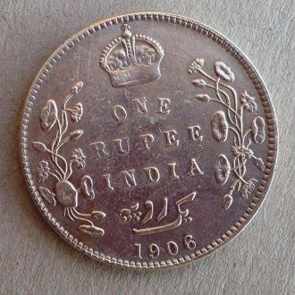Британская Индия 1 рупия 1906 Эдвард серебро Ag !