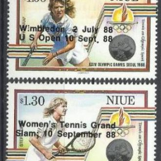 Ниуэ 1988 олимпиада теннис чемпионы надп. 4м.**
