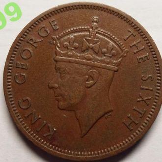 Сейшелы 5 центов 1948 тираж 300 000 шт.