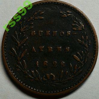 Буэнос-Айрес 5/10 реала 1828 СОХРАН!!!