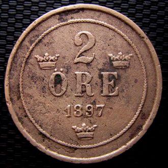 Швеция 2 эре 1897 год Редкая!