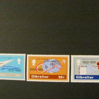 гибралтар 50 лет авиапочты  1981 **