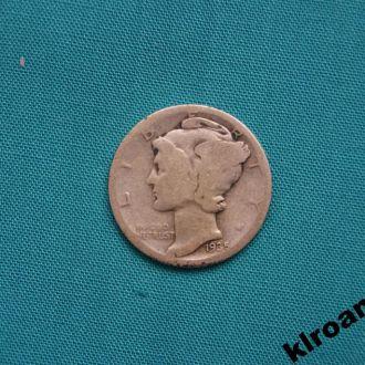 США 10 центов ( дайм ) 1935 г  S  СЕРЕБРО MERCURY