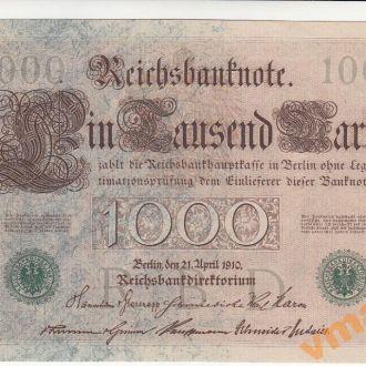 ГЕРМАНИЯ 1000 марок 1910 год № зеленый UNC-aUNC