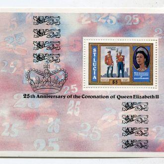 Св. Лючия 5$ Блок Елизавета II Коронация