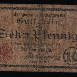 Германия нотгельд 10 пфенингов 1917 г