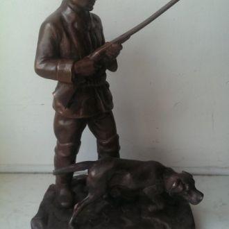 Фигура алюминий меднение охотник наградной СССР