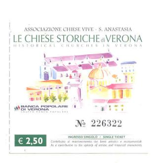 Италия. Билет в собор Le Chiese Storiche di Verona