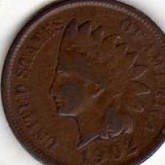 США Один цент 1902г