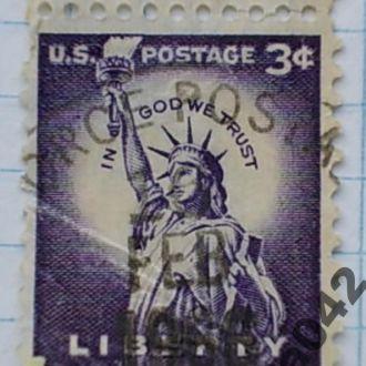 Марка почта США 1954 1966 Нью-Йорк Статуя Свободы
