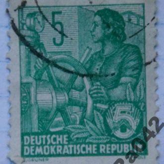Марка почта Германия ГДР 1957 - 1959 У штурвала Транспорт