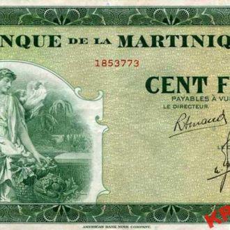 Мартиника 100 франков 1942 год. КОПИЯ
