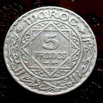 5 франков Марокко РЕДКАЯ!!! состояние !!! серебро