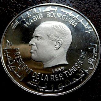 1 динар Тунис 1969 состояние PROOF!!! серебро ОЧЕНЬ РЕДКАЯ!!!