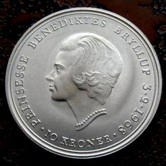 10 крон Дания 1968 РЕДКАЯ состояние UNC!!! серебро