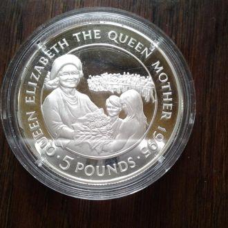 Олдбери 5 фунтов 1995г.Капсула подтертая .Серебро.
