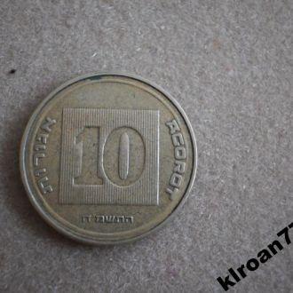 Израиль 10 агора 1985 БРАК ШТАМПА
