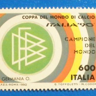 Италия. 1990 г. ЧМ по футболу в Италии. Надпечатка