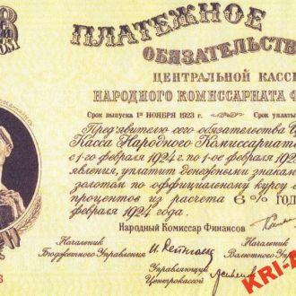 РСФСР Платежное обязат-во 100 рублей 1923 г КОПИЯ