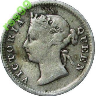 Маврикий 10 центов 1886 год серебро ТИРАЖ 750 000