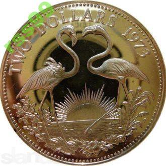 Багамы 2 доллара 1973 ПРУФ СЕРЕБРО