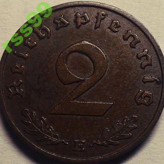 2 ПФЕННИГА 1940 года Е  РЕДКАЯ!! СВАСТИКА