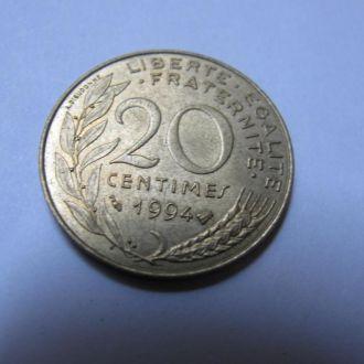 20 сентимов Франция 1994 год