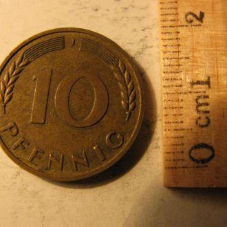10 Пфеннингов Пфенніг Німеччина Германия 1950 J
