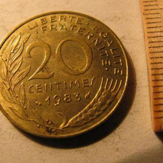 20 Сентимов Сентим Сентимів Франція Франция 1983