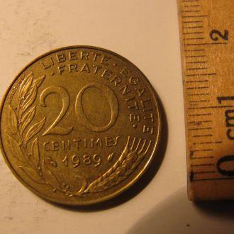 20 Сентимов Сентим Сентимів Франція Франция 1989