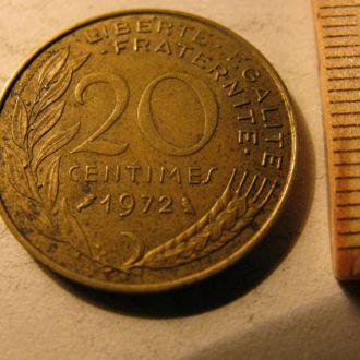 20 Сентимов Сентим Сентимів Франція Франция 1972