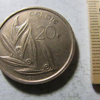 20 Франков Бельгія Бельгия 1981 рік