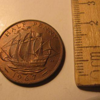 Великобритания пол пенни 1/2 пенні half penny 1967
