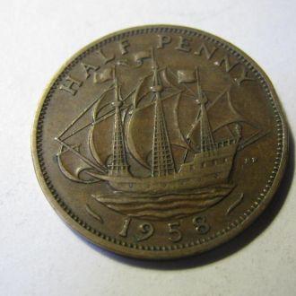 Великобритания пол пенни 1/2 пенні half penny 1958