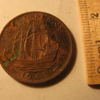 Великобритания пол пенни 1/2 пенні half penny 1965