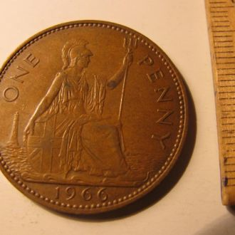 Великобритания один пенни 1 пенні one penny 1966