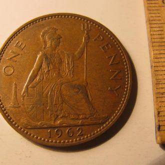 Великобритания один пенни 1 пенні one penny 1962