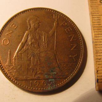 Великобритания один пенни 1 пенні one penny 1967