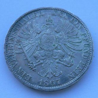Германия Пруссия 1 талер 1867 г Отличный!!
