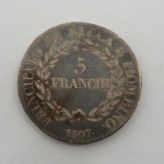 Италия 5 Франчи 1807 г РЕДКАЯ!!!