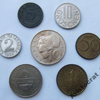 Австрия набор обиходных монет 1954-1998