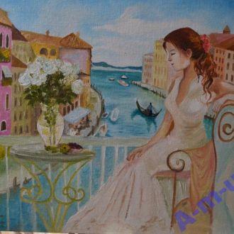 Картина маслом на холсте: Венецианская Гавань