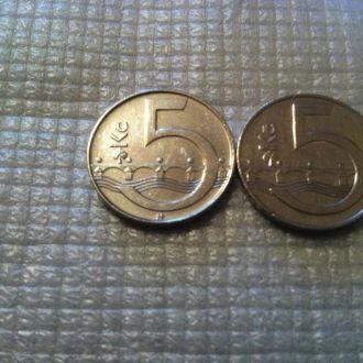 Монеты  Чехия 5 крон 2009г.