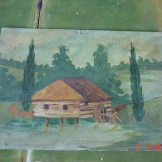 Картина хатка дерево масло