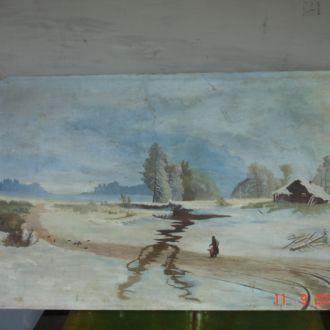 Картина речка зимой хатка 1963 год