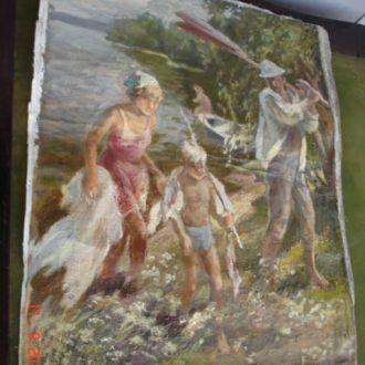 Картина соцреализм с рыбалки