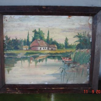 Картина на дереве хатки