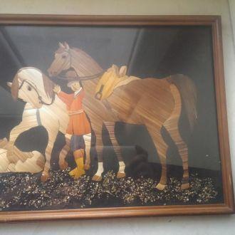 Картина лошади соломка СССР 1986