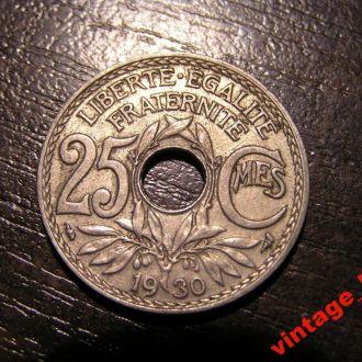 Монета Франція  25 Сентимов centimes Франк 1930