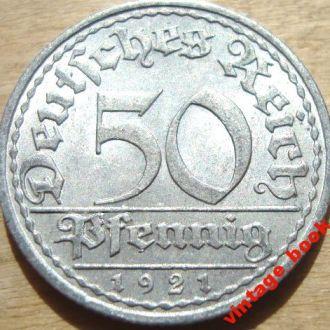 Монета 50 пфенигов 1921 Веймарская республика h
